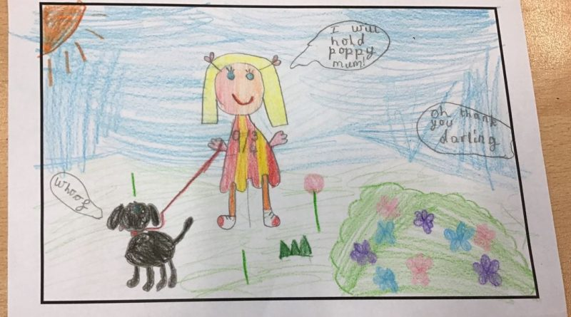 childrens drawing of a girl holding her dog for her mum