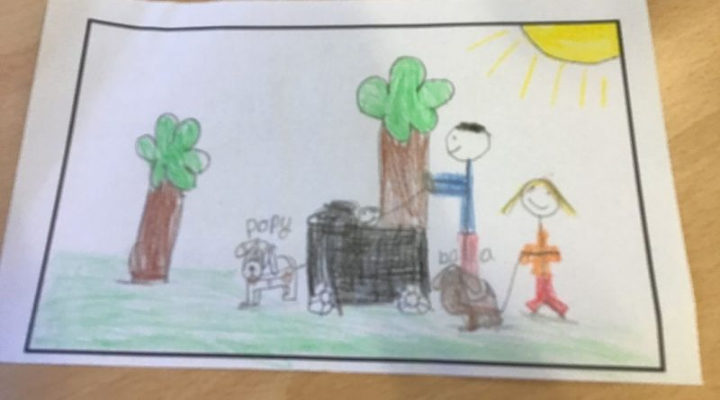 childrens drawing of a family at the park