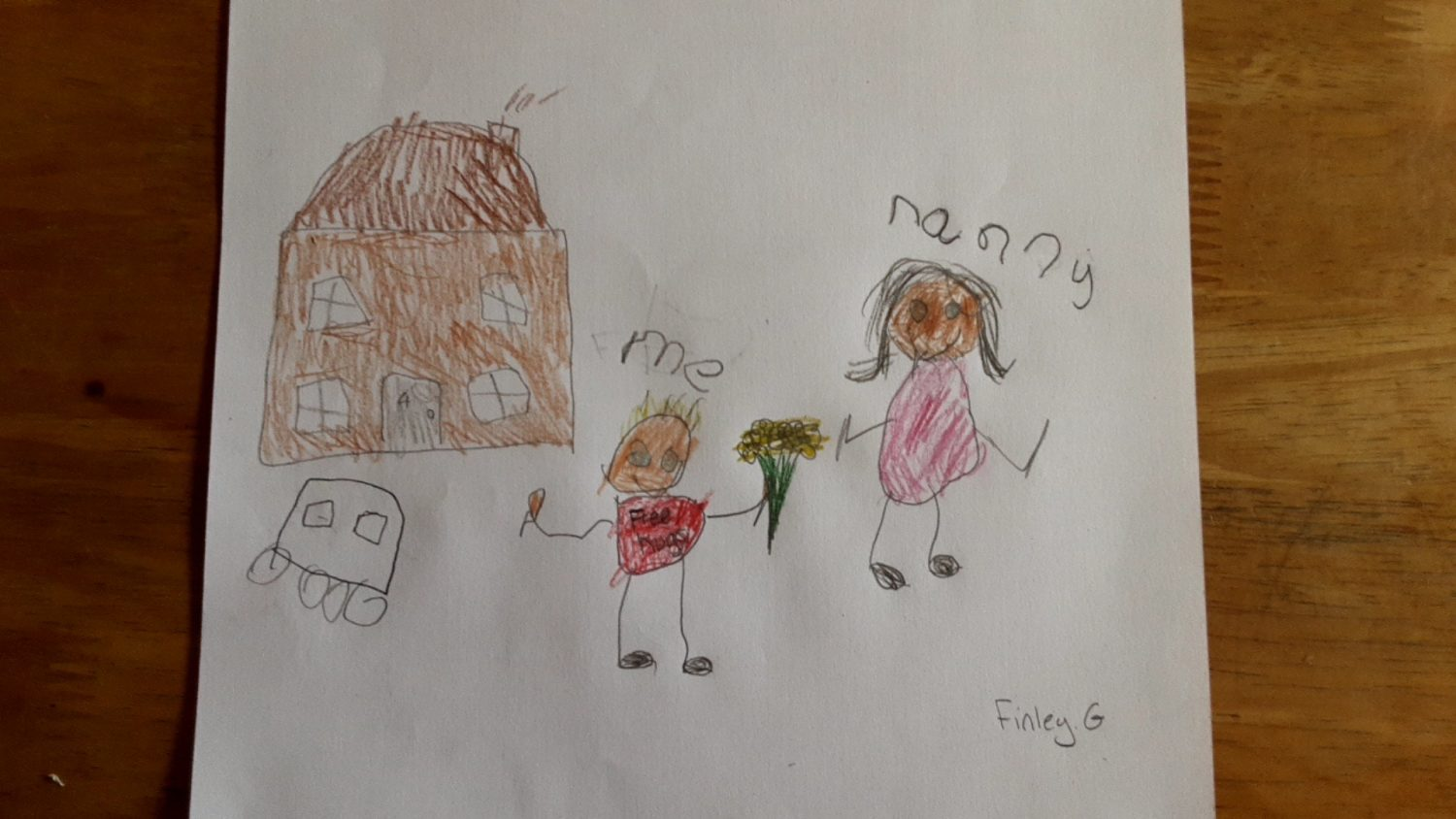 childrens drawing of a child giving their nanny a bunvh of flowers outside a house