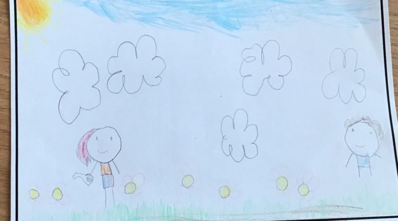 childrens drawing of a little girl under clouds