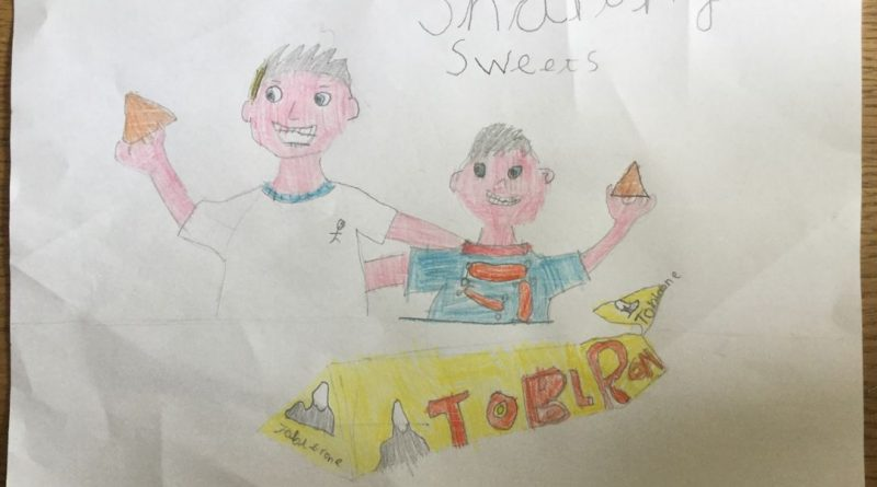 childrens drawing of a boy sharing chocolate with his dad