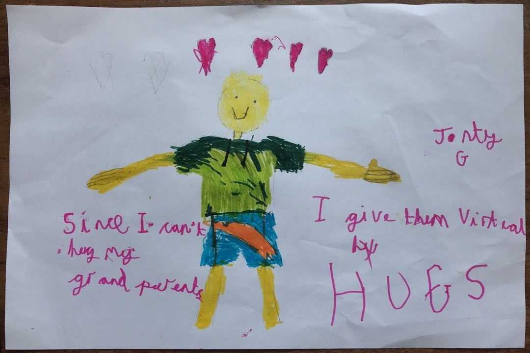 childrens drawing of a bot with his arms open for a hug