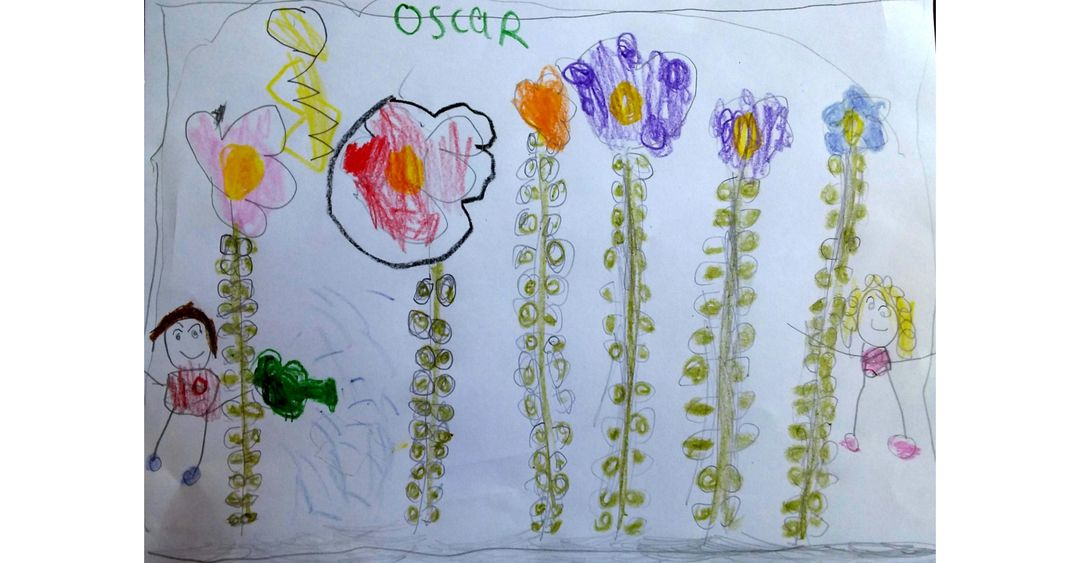 childrens drawing of flowers