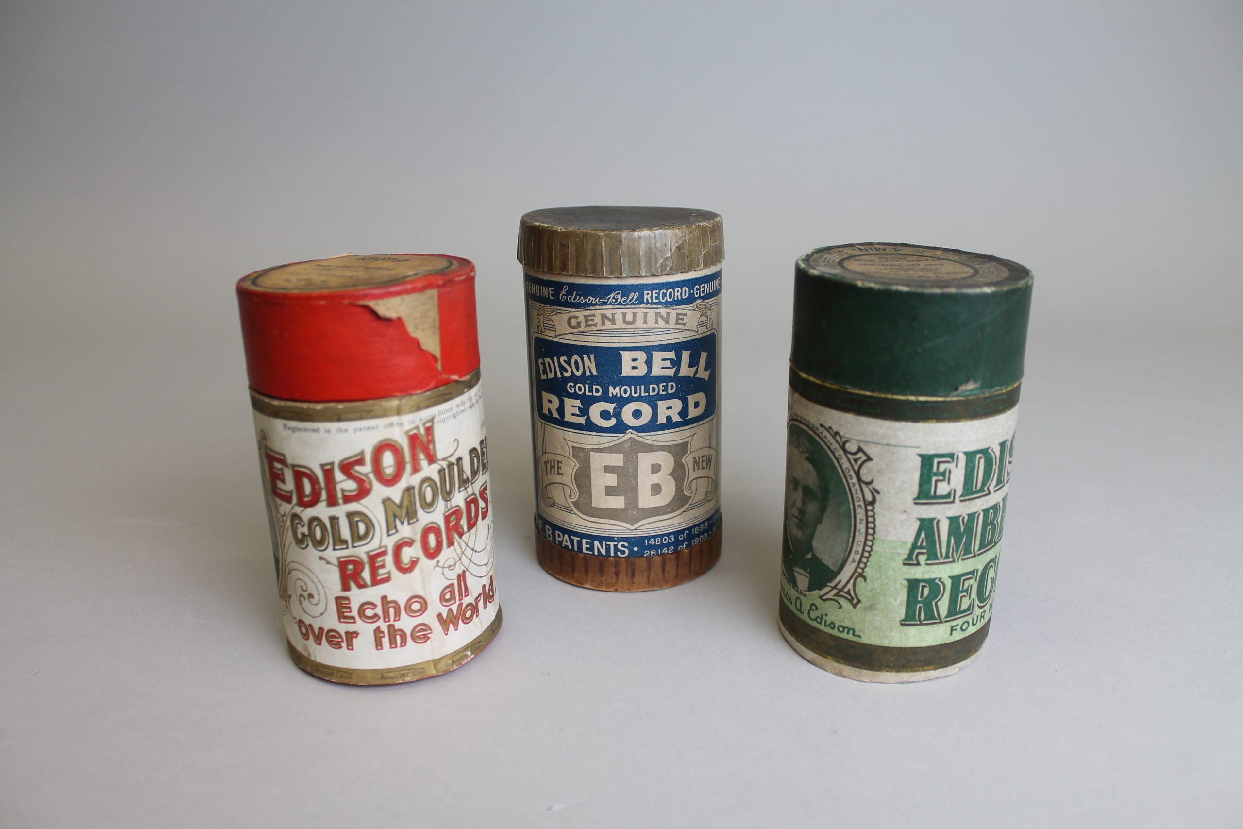 Three wax cylinders