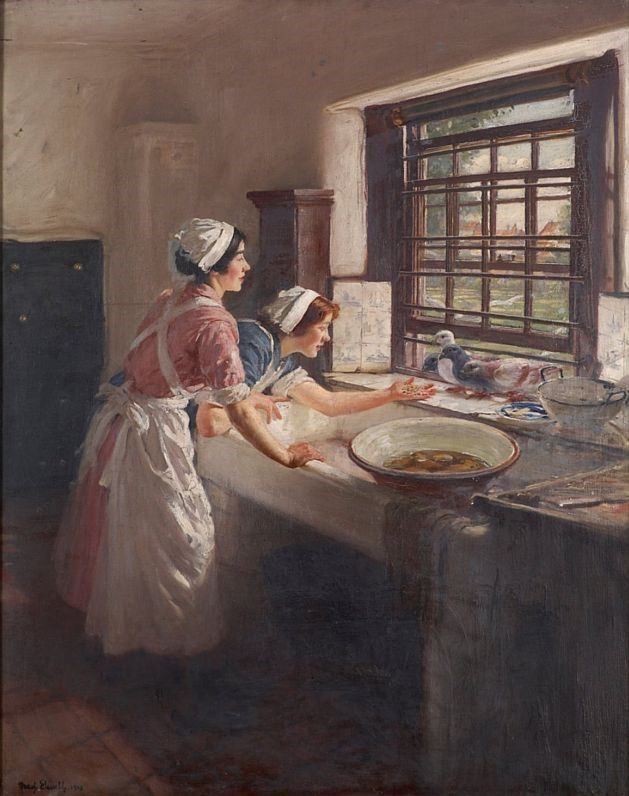 1916 paining of two maids feeding a pigeon bird seeds through an open window above the kitchen sink