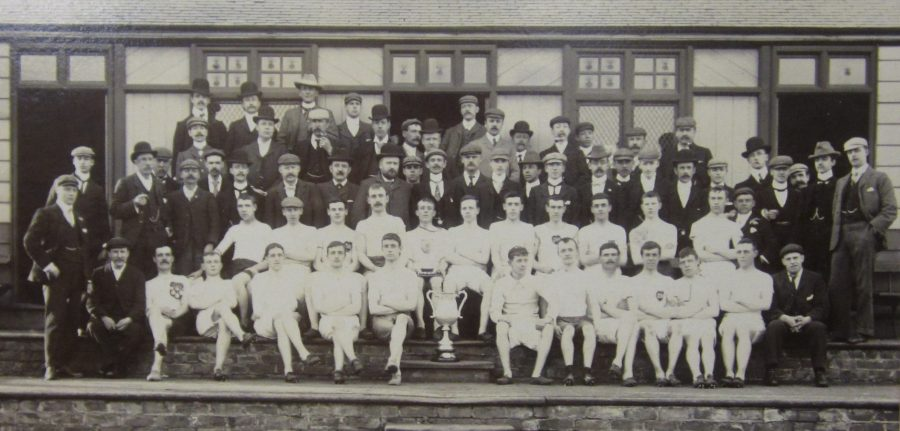 group picture of the Darlington Harriers 1900. Arthur Wharton stands near the middle of the first row. Image courtesy of the Centre for Local Studies, Darlington Library.