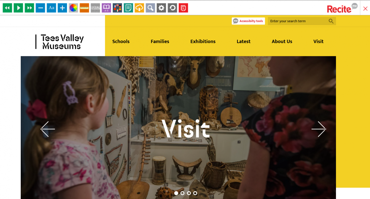 Tees Valley Museums web page with the Recite Me toolbar