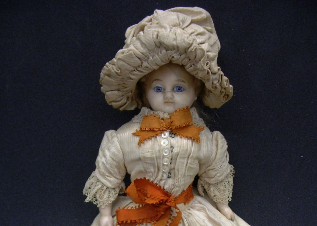 Percaline doll with large victorian dress and hat in white and red