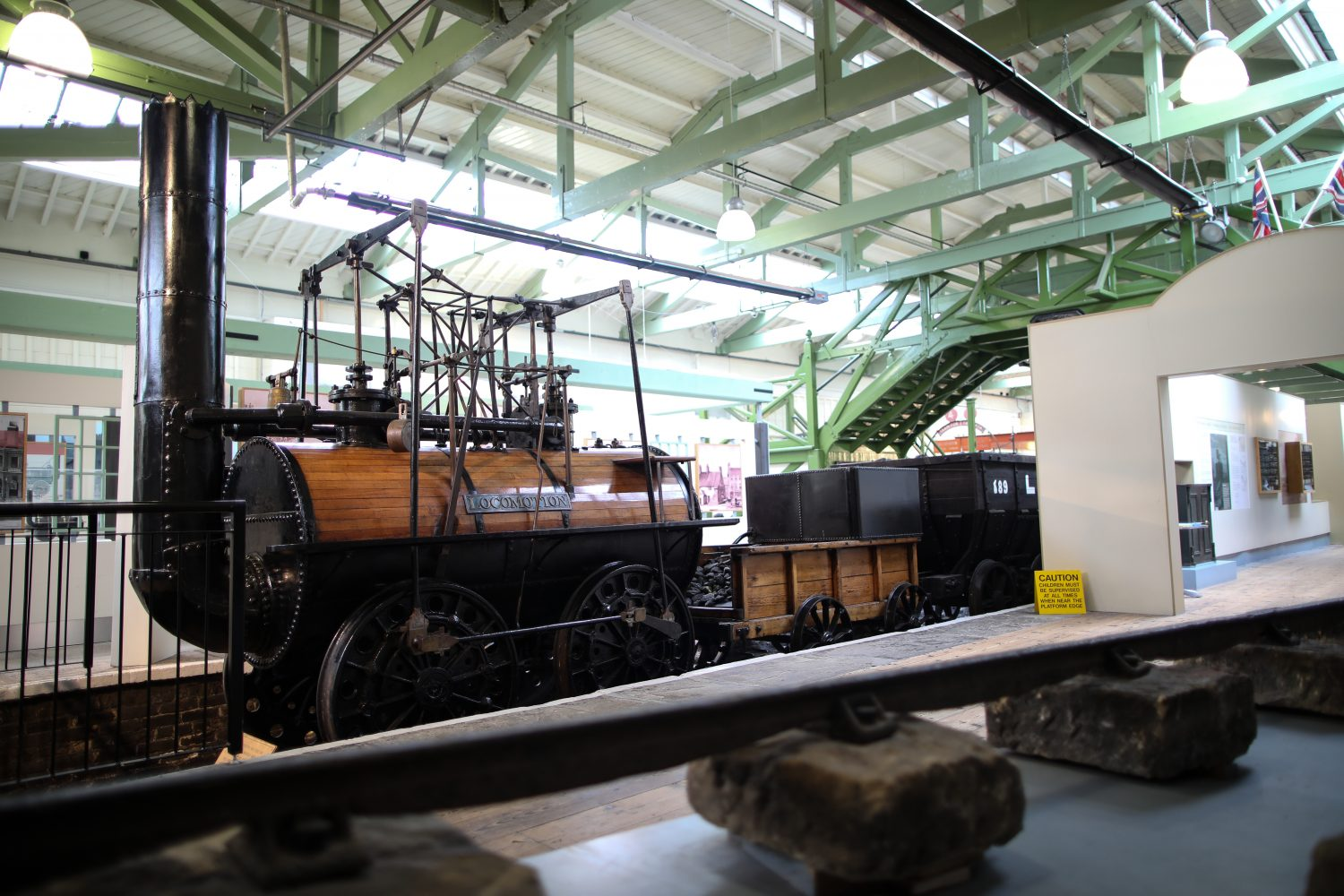 Locomotion No 1 is a very early steam train, often described as a giant barrel on wheels.