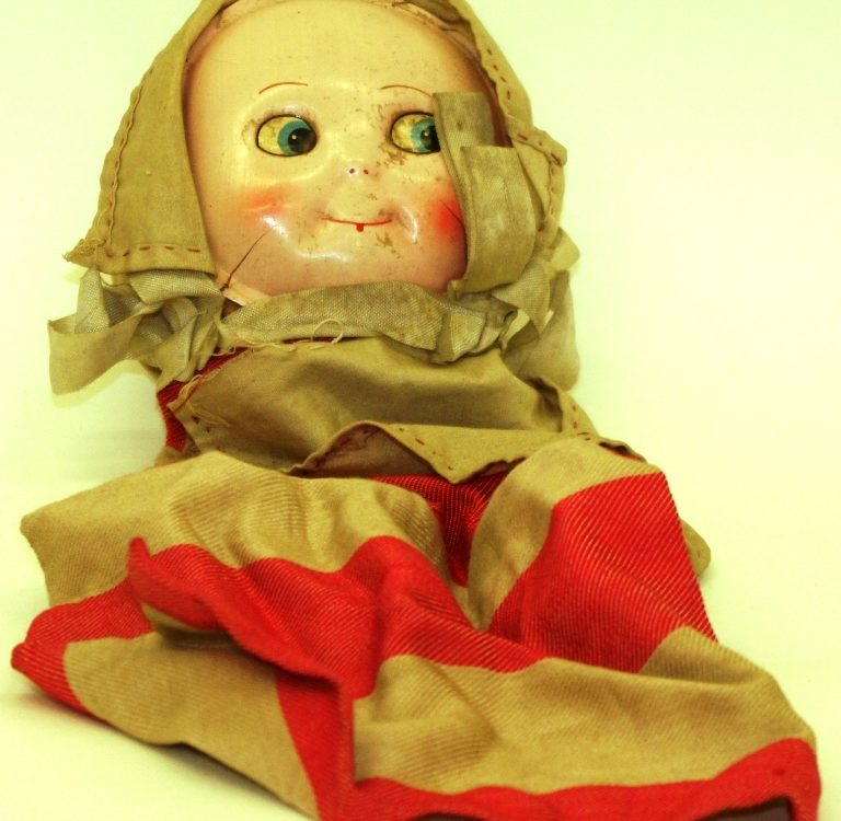 Homemade doll with molded face