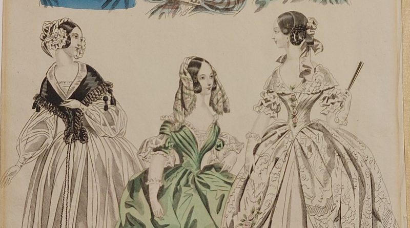 fashion illustration from 1839 showing three women in full length profile and three just head and sholders
