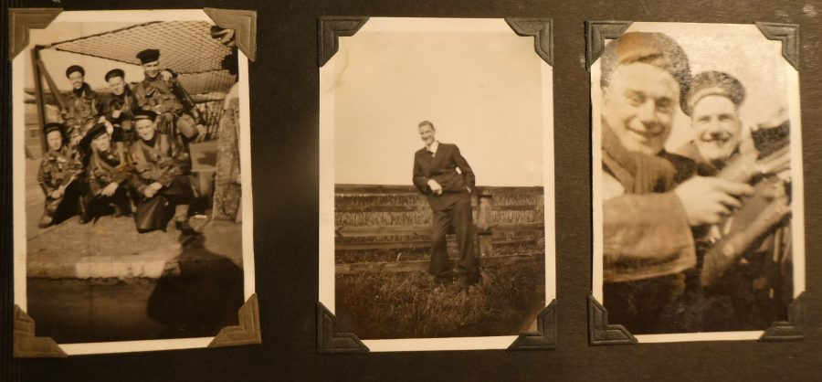 Three small photographs in Robert William Mellanbys scrap book.
