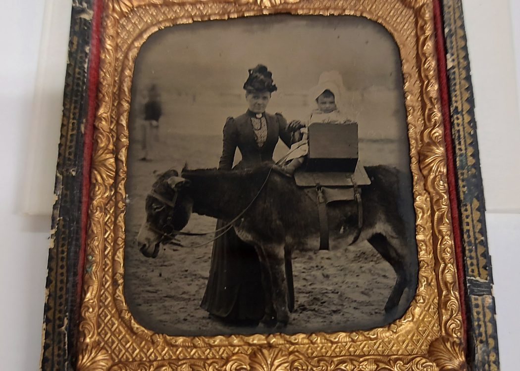 Ambrotype photograph on a glass plate showing a woman in a long dark dress holding a baby on a donkey ride at the seaside. Its presented in a gold frame sat inside a leather cases.