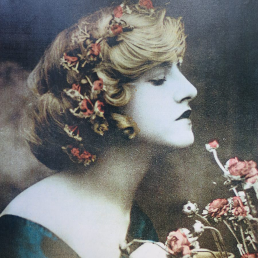Hand coloured image of Ivy Close showing her side ways on smelling some flowers. Her hair is blond and has red flowers in.