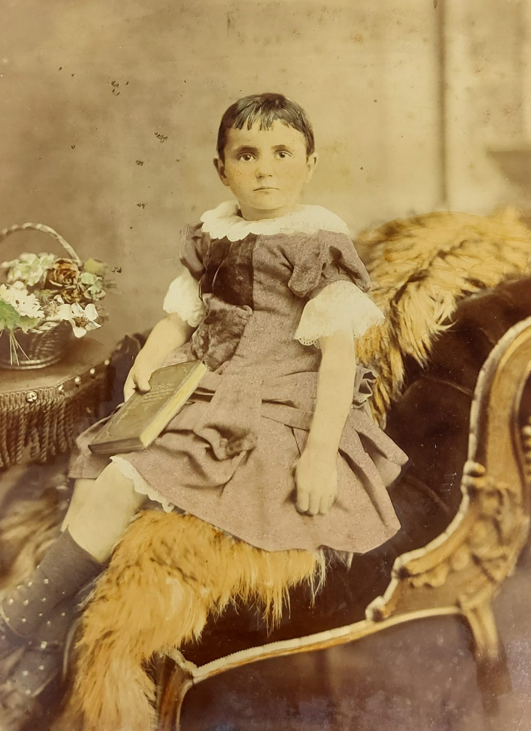 Coloured photograph of a child seated on a chair facing the camera. The child wearing a dress with fancy details such as bowes on the sleeves and down the bodice. Short sleeves feature lace detail and a lace collar.