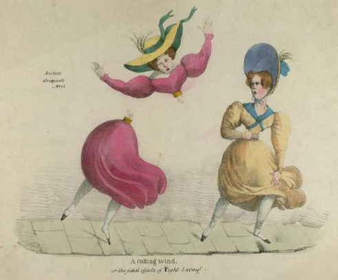 Satire drawing of two women wearing straight laced corsets. One womand corset is so tight it has snapped her waist and her torso is flying off.